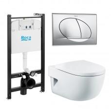 Roca ПЭК Комплект инсталляция с унитазом Meridian и крышкой с микролифтом