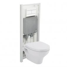Sanitana POP Комплект подвесного унитаза  с сидением (микролифт) + инсталляция OLI и панелью управления slim белая